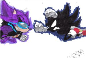 Dark Sonic vs. Super Scourge by RGXHyperRyan