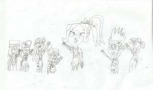 Total Drama as Rainbow Brite characters (sketch 1) by Kayaisinthehouse