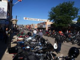 Downtown Sturgis Thursday Morning by Caveman1a