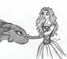 Merida meets Toothless by RowenSatell