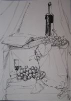 still life with wine and grapes by watari-yumiko