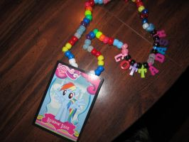 RainbowDash kandi Necklace for DinoJude by IloveStarscream