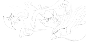 Pidgeot, Lugia, Latios and Salemence Flying Sketch by JamalC157