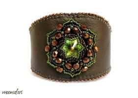 Leather bracelet by moonsafaribeads