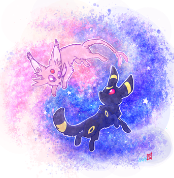 Espeon and Umbreon by namiwami