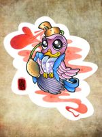 cartoon bird tattoo flash by OniBaka