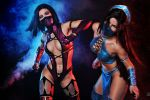 Mileena and Kitana Mortal Kombat 9 cosplay by AsherWarr