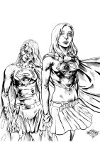 Supergirl and Bizarro Supergirl inks by MatiasSoto