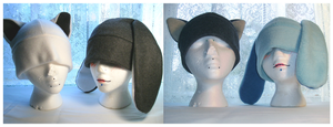 Kitty and Bunny hats galore by xCircus
