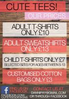Cute Tees pricing by usmelllikedogbuns