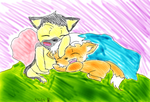 Fox Me and German Shepard Azia by witchguy24