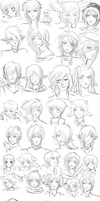 MN Headshot sketches u v u by AnimeNeko123