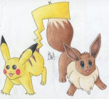 109) Pikachu and eevee :D by Magicull-Delesia