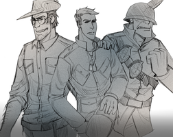 TF2: Past Mike and his buddies by DarkLitria