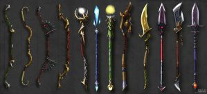 Bows, Staves and Spears concept by Guro