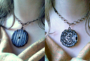 Home is Behind Double Sided Bagend Necklace by JynxsBox