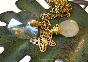 Gold Butterfly Necklace by WaterGleam
