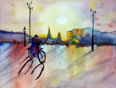 Copy of Fealing Lin's _Morning Cyclist_ by muridaee