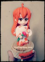 Mirai in Ao Dai - Handmade clay figure (vintage) by yonkairu