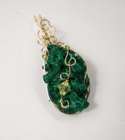 Gold Wrapped Malachite Pendant by DesertShineJewelry