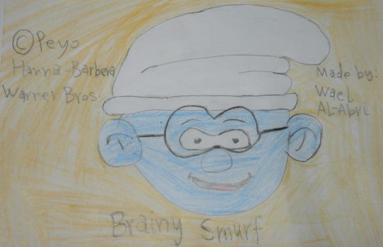 A drawing for Brainy Smurf by Wael-sa