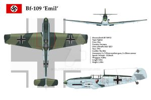 Bf-109E3 JG1 3-View by WS-Clave