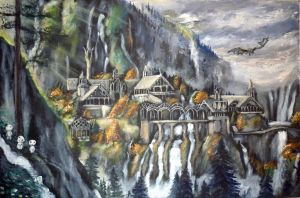 Rivendell, three kodamas and a dragon :) by WormholePaintings