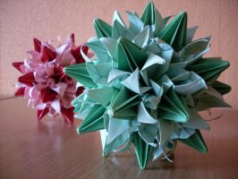 Pink And Green Kusudama by happy96