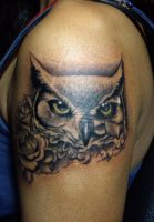 owl and rose tattoo by crimson-touch