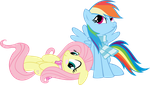 Fluttershy and Rainbow Dash by MuhMuhMuhImDead