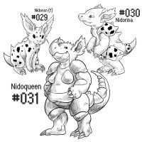 PKMN-A-DAY: Female Nidos by the-b3ing