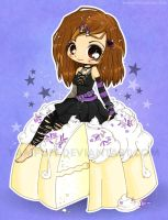 Goth Chibi on a Cake Commish by YamPuff