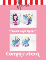 Commission - Cloud and Aeris Chibi by ForesakenFaerie