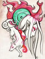 Okami:Amaterasu the White Wolf by rayn-the-insane