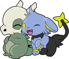 Cubone and Shinx Snuggle by CassidyPeterson