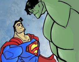 superman vs Hulk by DCarelli