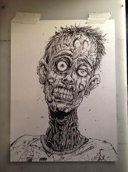 Zombie head inked plus video by Gazbot