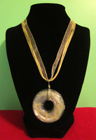Art Deco Donut Ribbon Necklace by BloodRed-Orchid