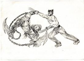 Kratos vs. Wolverine by mevsk