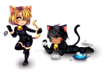 Chibi Commission: Naughty Kittens by manu-chann