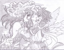 Kid Icarus Uprising - Medusa's Confrontation by kamon-san
