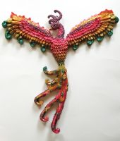 Phoenix wall hanging, commission by GabriellesBabrielles
