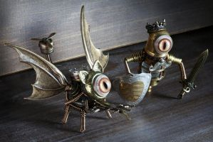 Steampunk Cat-Dragon and The King by CatherinetteRings