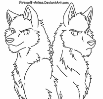 Wolf Brothers LineArt by Firewolf-Anime
