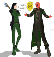 Loki and Deadpool: Wardrobe Switch by medusa747