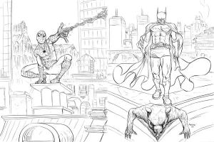 Spidey and Batman by astrobrain