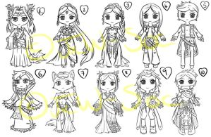 10 Chibi Lineart Auction [CLOSED] by JxW-SpiralofChaos