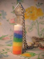rainbow sand art necklace by leggsXisXawsome