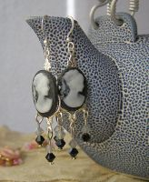 cameo black and grey earrings by gothkaitani by kaitani81