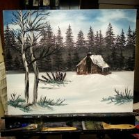 Country Cabin bob ross style by LaShink